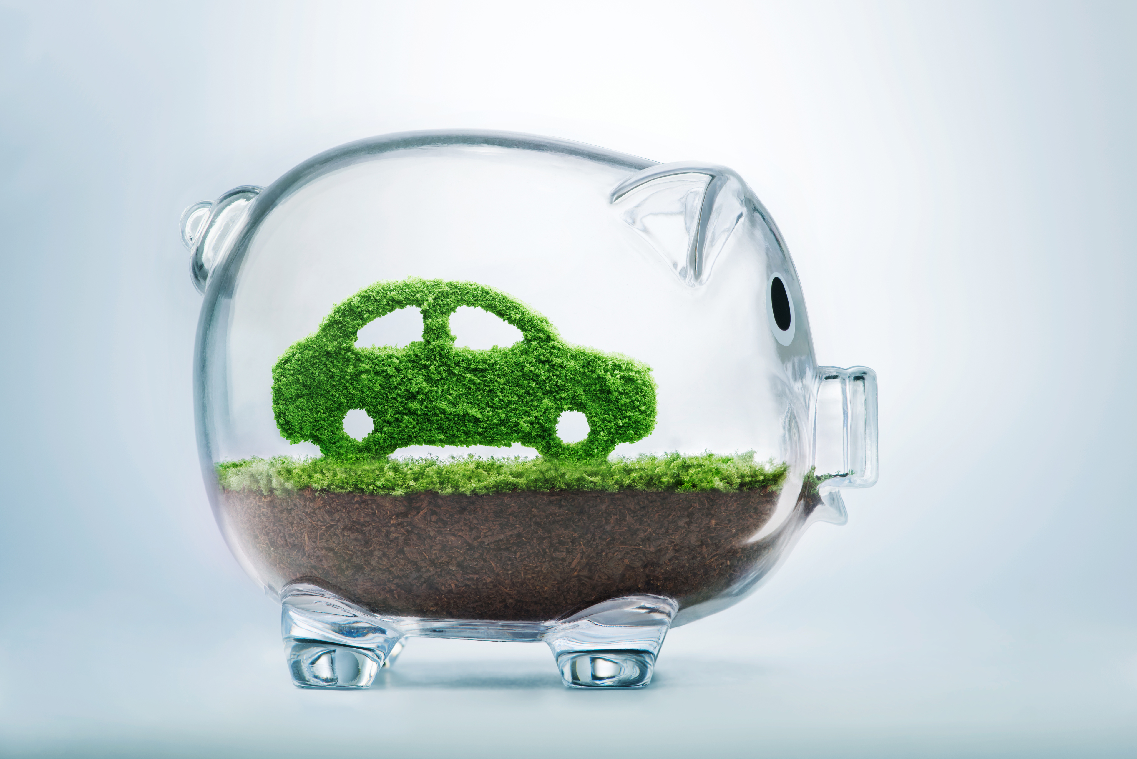 Green energy concept with grass growing in shape of car inside transparent piggy bank